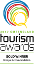 Queensland Tourism Award Gold winner 2017 Unique Accomodation