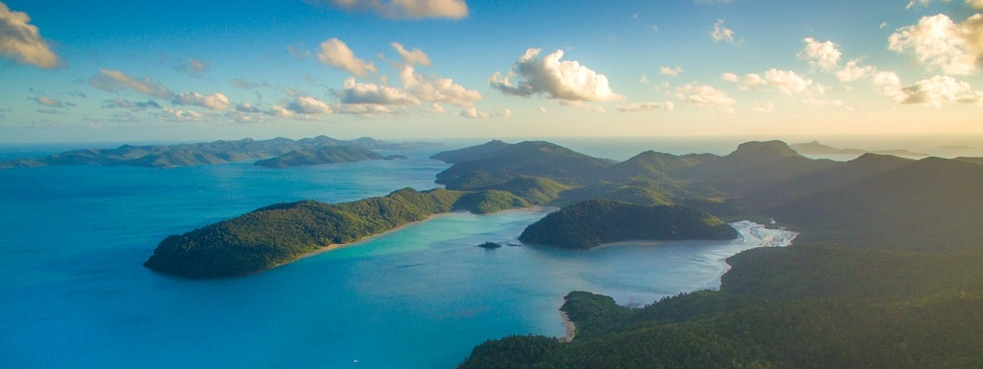 Whitsunday islands aerial view