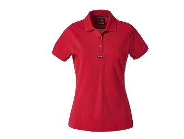 womans red polo shirt