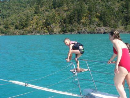 Joshua's favourite passtime........jumping off the boat!!