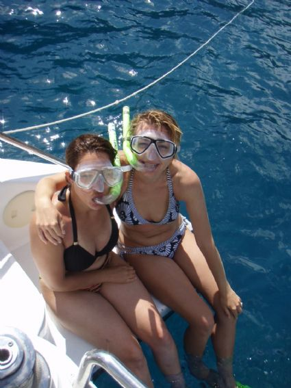 The girls going snorkeling