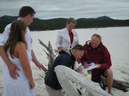 Wedding witnessed on Whitehaven beach