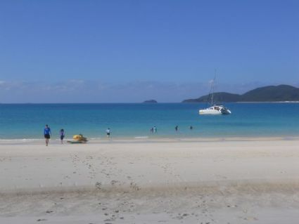 Playing at Whitehaven beach