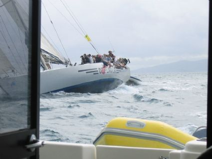 Getting chased by an Americas cup boat - Defender across the Whitsunday passage