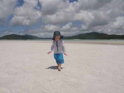 George having playtime on Whitehaven Beach