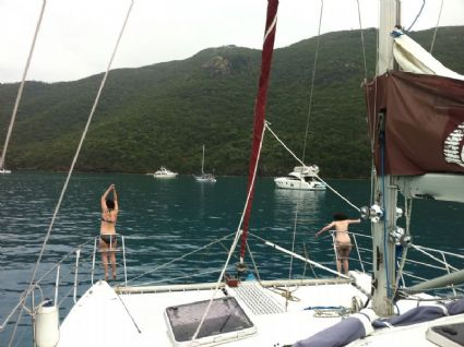 Leaping off foredeck