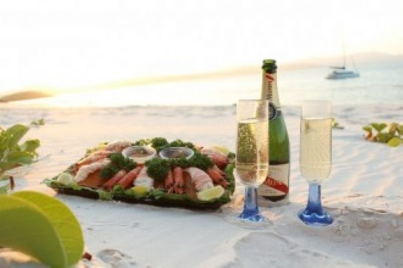 Seafood and Champagne on Whitehaven Beach
